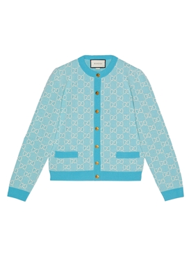 GG jacquard cardigan LIGHT BLUE IVORY