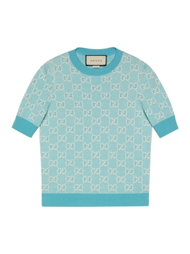 GG logo knit top LIGHT BLUE IVORY