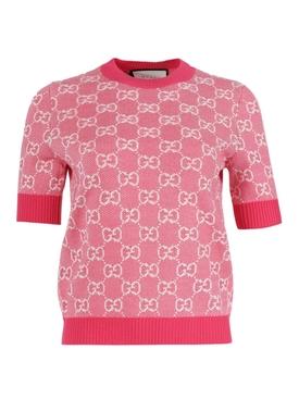 GG logo knit top FUCHSIA/WHITE