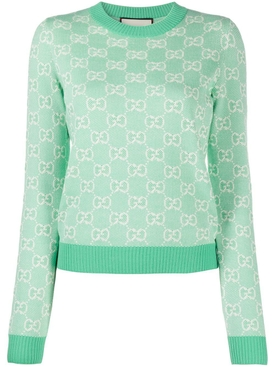 Pastel hued wool jacquard logo print sweater WATER GREEN