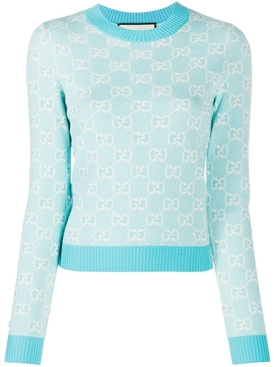 Pastel hued wool jacquard logo print sweater LIGHT BLUE