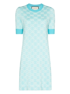 Light Blue GG Jacquard Dress
