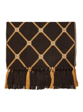 Brown wool GG logo print scarf