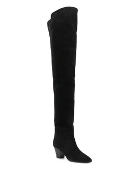 Black over-the-knee suede leather boots