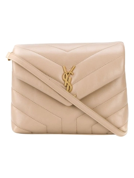 Quilted Mini Loulou Crossbody Bag DARK BEIGE