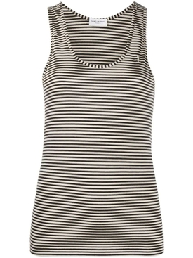 Black and white horizontal striped tank top
