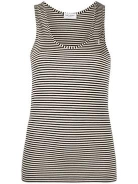 Black and white horizontal striped tank top