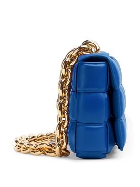 CHAIN CASSETTE LEATHER BAG COBALT