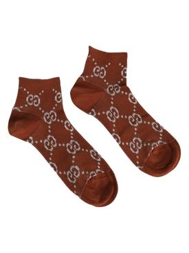 GG lurex logo socks BROWN