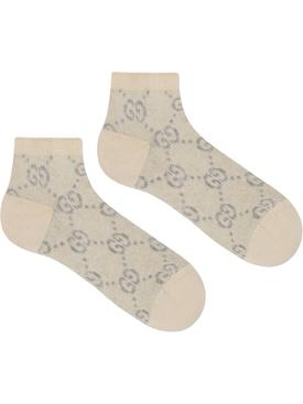GG lurex logo socks IVORY/GREY