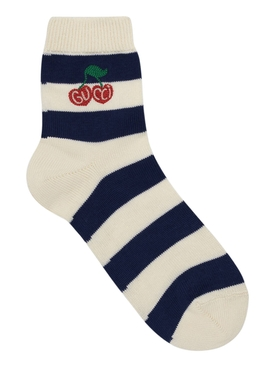 White and blue stripe socks