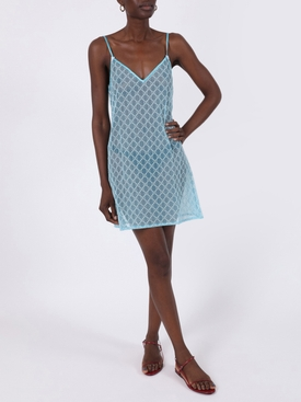 GG logo print tulle slip dress LIGHT BLUE
