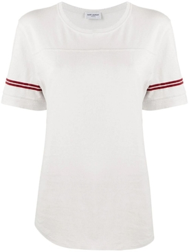 white and red striped sleeve t-shirt