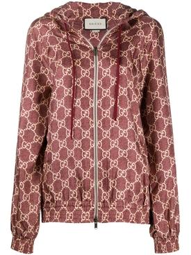 Burgundy Logo print track jacket