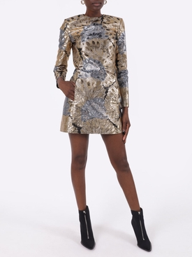 Gold and silver metallic effect shift dress