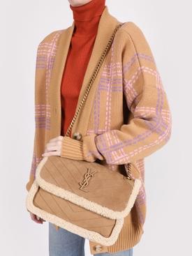 Tan and ivory Medium Niki Shearling Bag