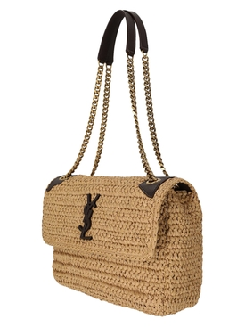Medium Niki Raffia Shoulder Bag