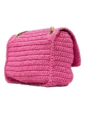 Niki Medium Straw Shoulder Bag, New Fuchsia