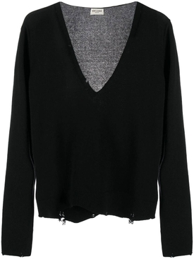 Black distressed cashmere sweater