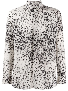 Silk snow leopard print blouse
