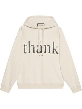 Cream Think/Thank Hoodie