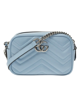 GG Marmont mini leather bag LIGHT BLUE