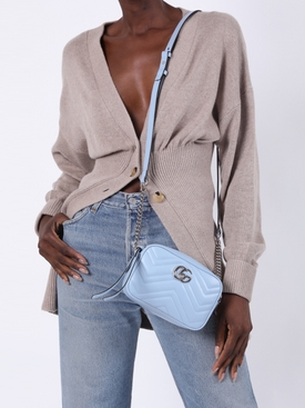GG Marmont mini leather bag LIGHT BLUE