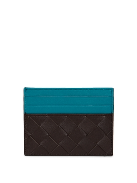 INTRECCIATO CREDIT CARD CASE FONDANT BROWN AND BLUE
