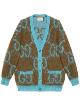 Mohair Fuzzy Reversible GG Cardigan