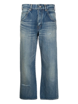Sandy Winter Blue Cropped Straight-leg Jeans