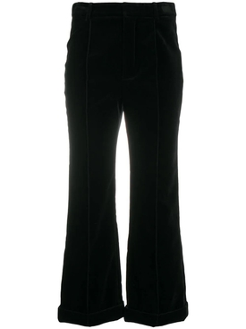 Black cotton cropped trousers