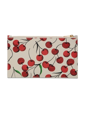 Cherry Print Leather Pouch
