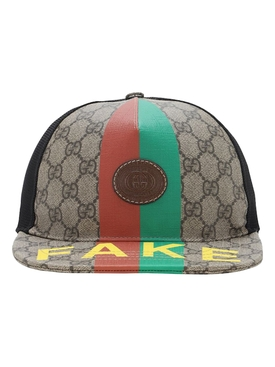 Fake' logo print baseball hat