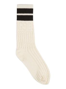 Ivory and black Knit Logo Socks