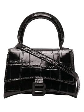 Black Croco Mini Hourglass Bag Black