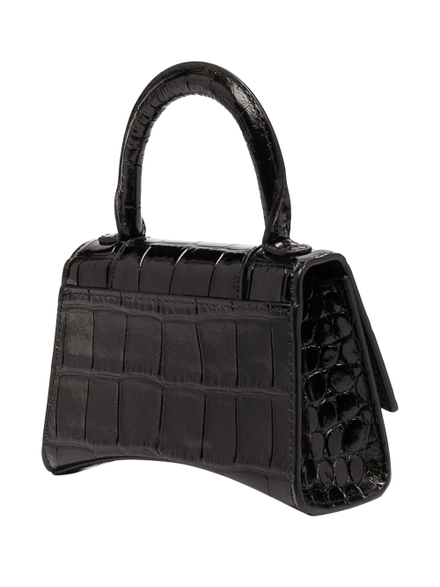 Balenciaga Leathers Black Croco Mini Hourglass Bag Black