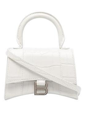 White Croco Mini Hourglass Bag White