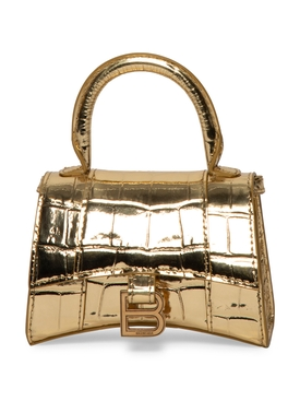 Gold Croco Mini Hourglass Bag
