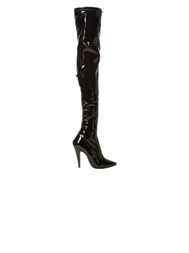 Black Patent Thigh-High Boots