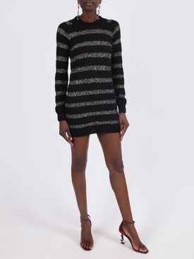 Black and silver sequin striped mini dress