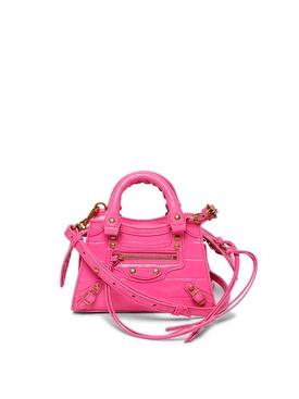 Croc-embossed Nano Neo Classic City Bag Neon Pink