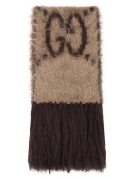 GG mohair long scarf Beige/Dark Brown