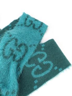 GG mohair long scarf Petrol Blue/Sky Blue