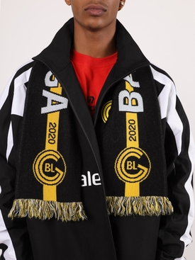 Black and gold soccer scarf