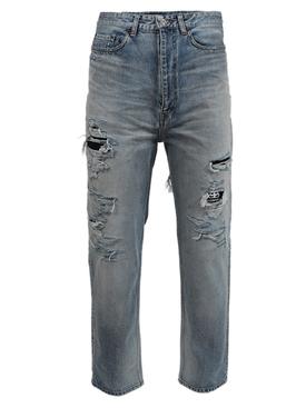 Dirty Blue Ripped Denim Pants