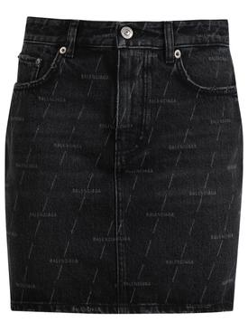 Logo Print Mini Denim Skirt, Stonewash Black