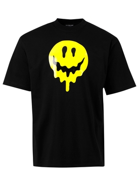 DRIP PEACE LARGE FIT T-SHIRT, BLACK AND YELLOW