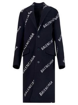 Navy and white boxy coat