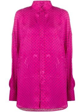 Pink Fluid Scarf Tuxedo Blouse