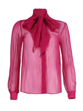 Hot pink silk sheer blouse